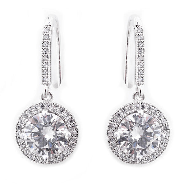 925 sterling silver, rhodium plated micro pave round cubic zirconia earrings - E20750