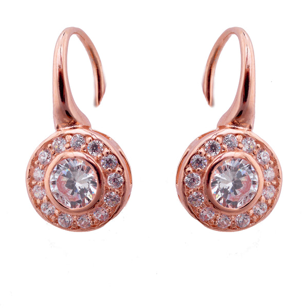 Rose gold plate clear cubic zirconia earrings on french hook - E753-RG
