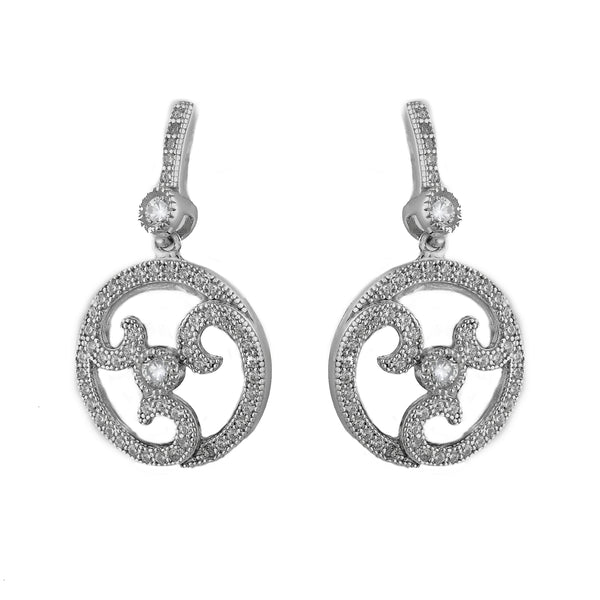 Rhodium mirco pave decorative earring- E20771
