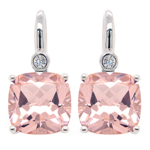 E7391-M - Morganite cz earrings on hook