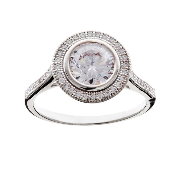 Sterling silver, rhodium plate micro pave round dress ring - R10449