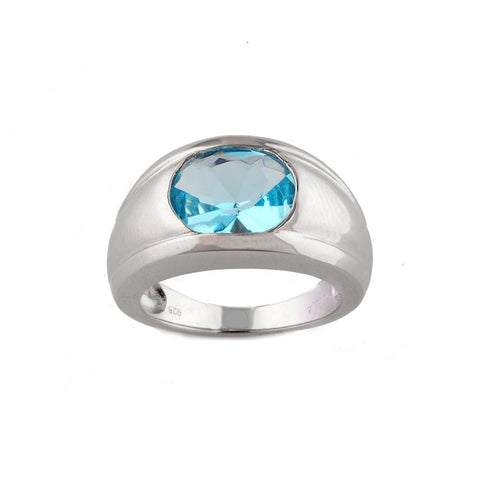 Blue topaz & silver ring R6170