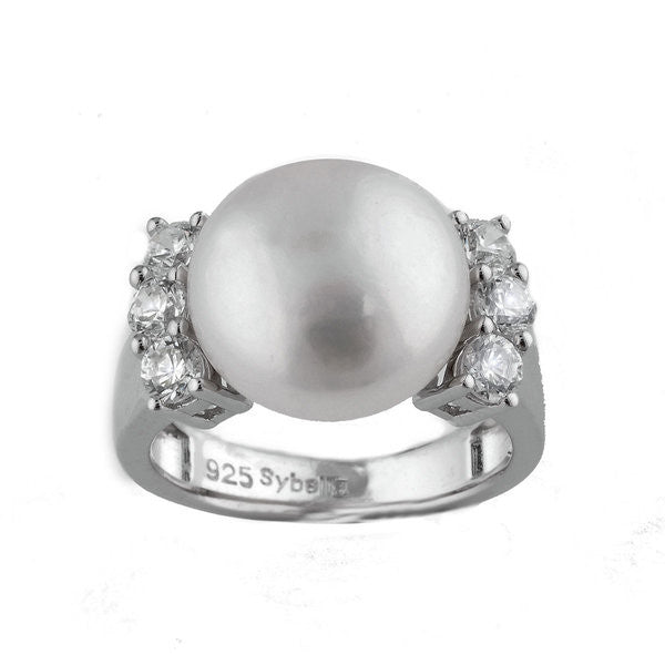 925 sterling silver, rhodium plate cubic zirconia & white button pearl dress ring - R1166
