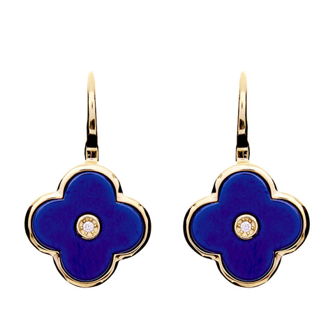 Yellow gold cubic zirconia & blue ceramic flower earrings- E210-BYG