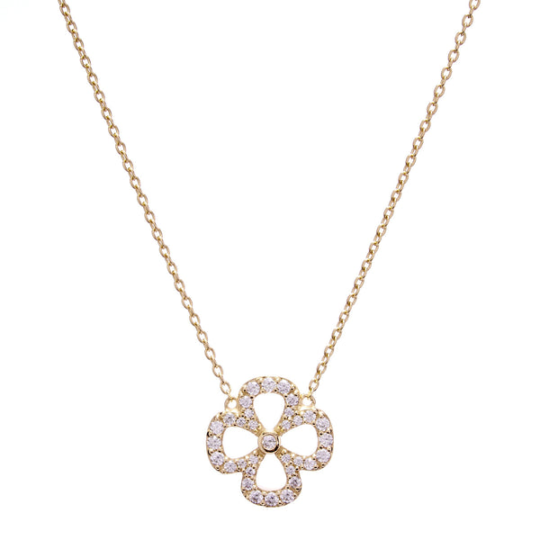 Yellow gold flower cubic zirconia necklace on fine chain- N135-YG