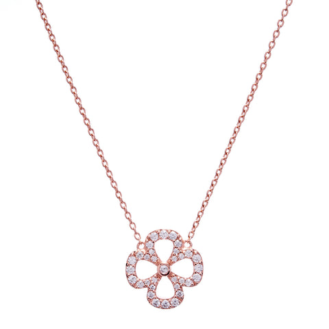 Rose gold flower cubic zirconia necklace on fine chain- N135-RG