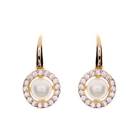 Yellow gold cubic zirconia 8mm pearl hook earring- E782-YG