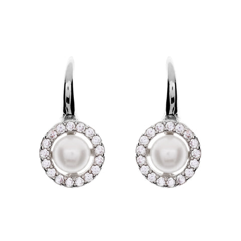 Rhodium cubic zirconia 8mm pearl hook earring- E782-RH