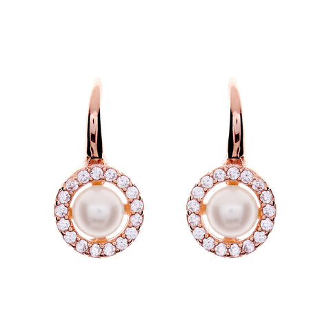 Rose gold cubic zirconia 8mm pearl hook earring- E782-RG