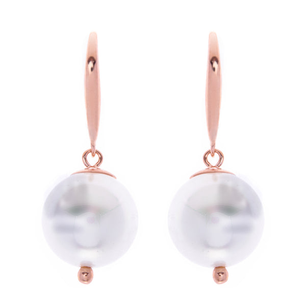 E789-RG- 12mm white pearl on rose gold hook