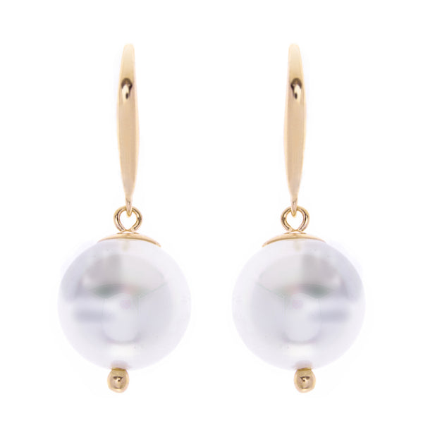 E789-GP- 12mm white pearl on yellow gold hook