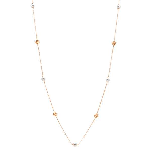 N791-RG - 90cm pearl and rose gold disc necklace