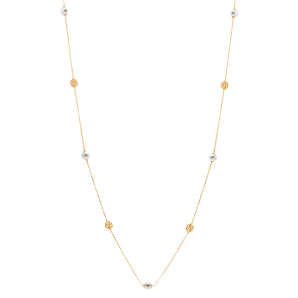 N791-GP - 90cm pearl and yellow gold disc necklace