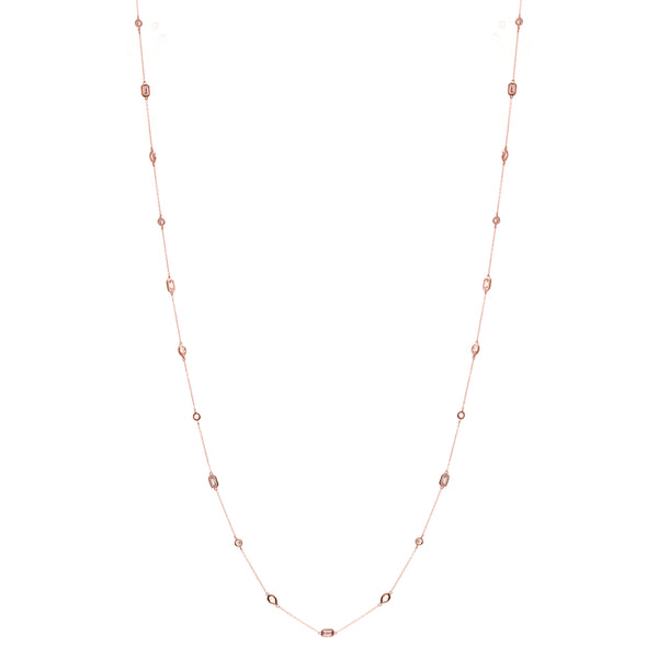 N107-RG - 90cm Multi shape rose gold necklace