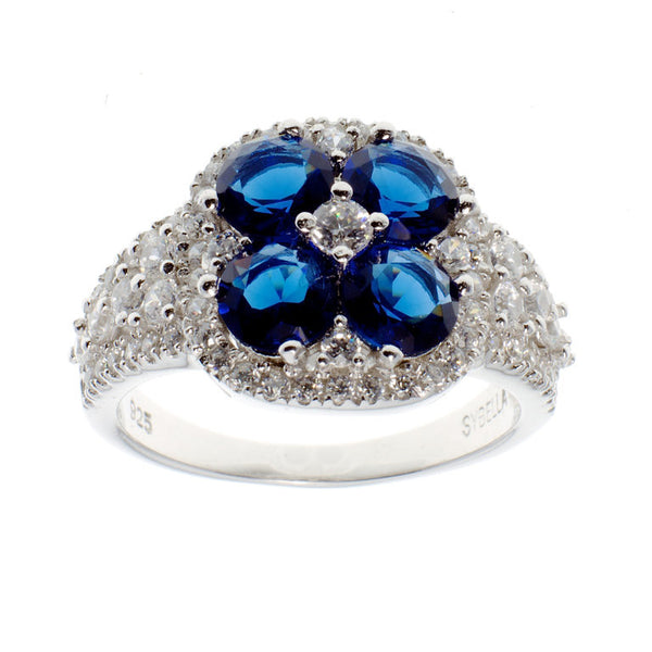 Sterling silver, rhodium plate sapphire & clear cubic zirconia flower dress ring - R6405
