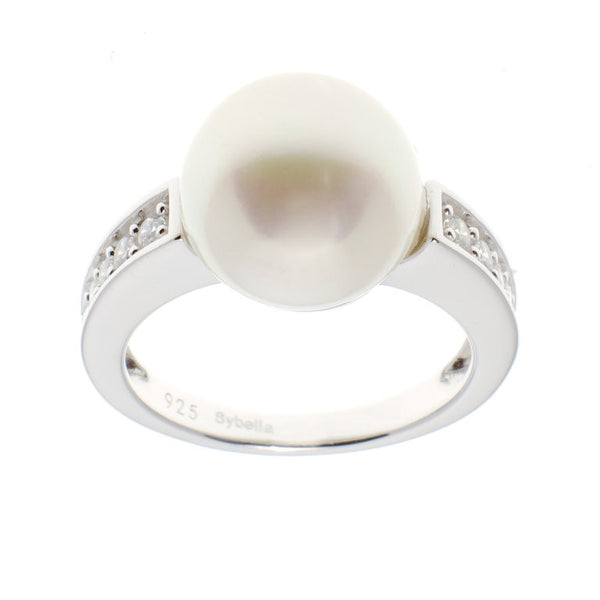 Sterling silver, rhodium plate cubic zirconia and white button pearl ring - R1206