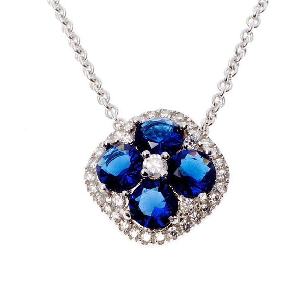 Sapphire & clear cubic zirconia flower dress pendant - P6405