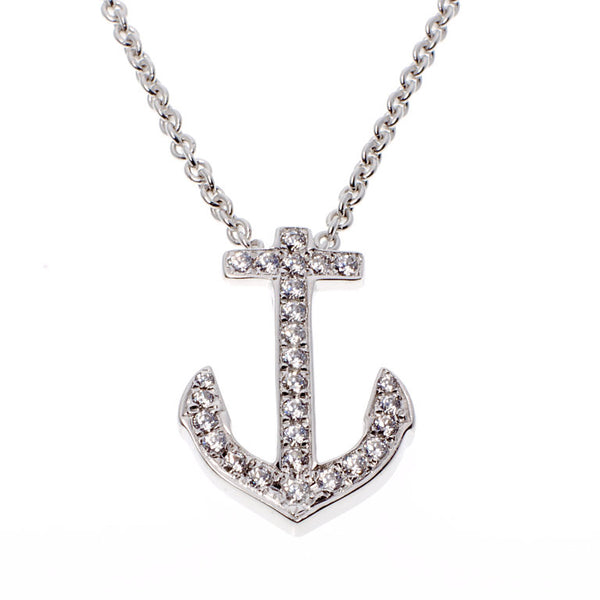sterling silver, rhodium plate cubic zirconia anchor pendant - P127  925
