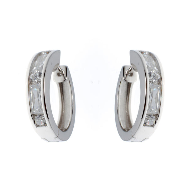 925 sterling silver, rhodium plate clear cubic zirconia huggie earrings - E7101