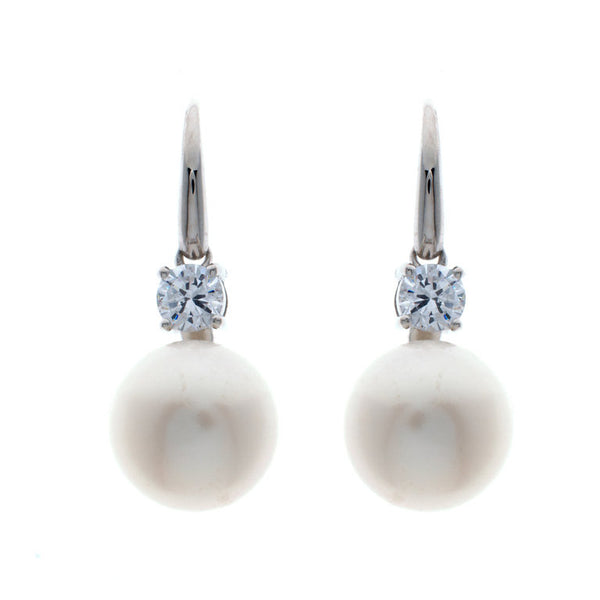 White button pearl earrings on a french hook - E1207