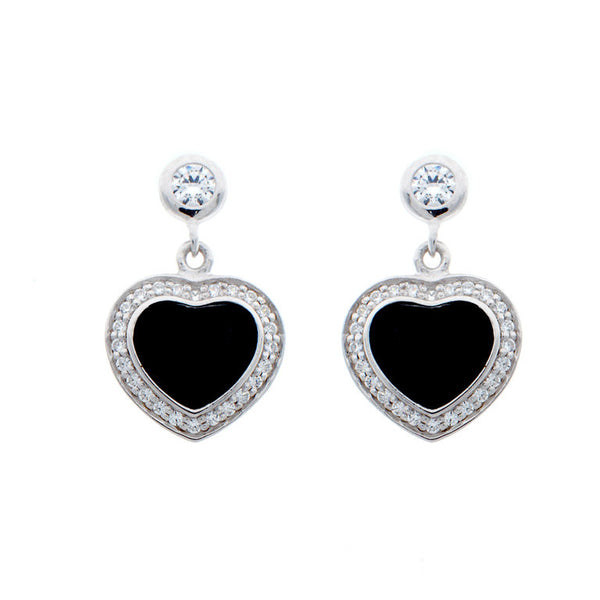 925 sterling silver, rhodium plate black resin & clear cubic zirconia heart earrings - E4455