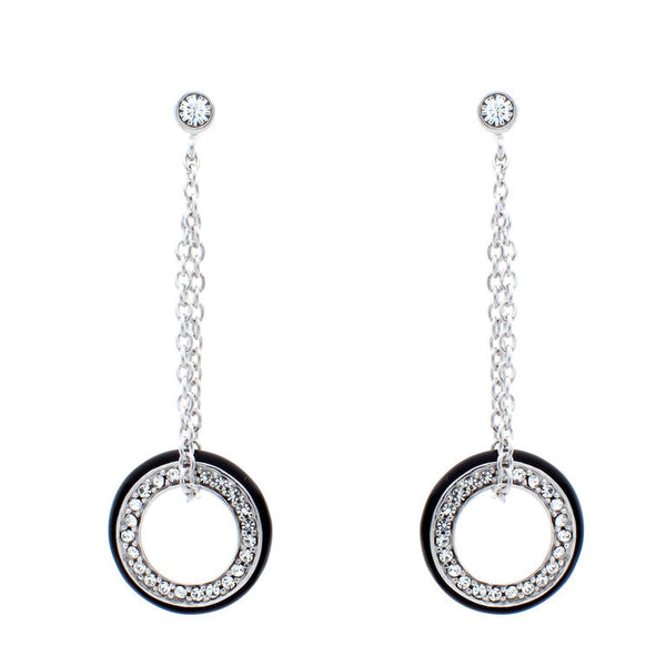 925 sterling silver, rhodium plate black resin & white cubic zirconia drop earrings - E4448