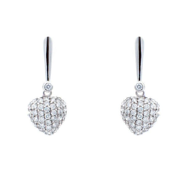 Sterling silver, rhodium plate bar with pave heart drop earrings - E1215