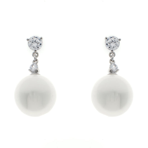 Rhodium plate claw set stud with 14mm pearl drop earrings - E1213