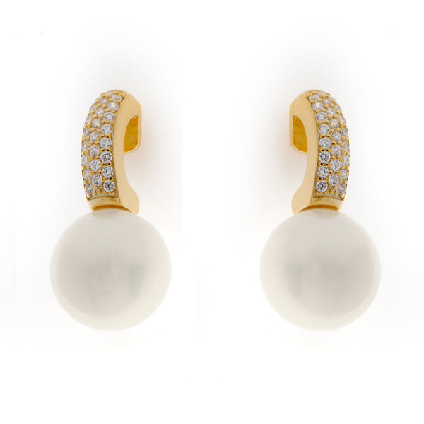 Yellow gold plate, cubic zirconia pave & white pearl earrings - E1054-YG