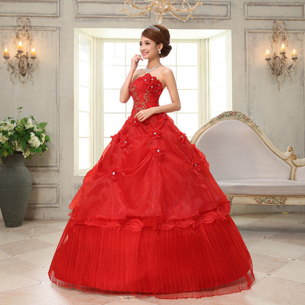 Strapless Red Corset Wedding Dresses Elegant Bridal Gowns – CNsalexpress
