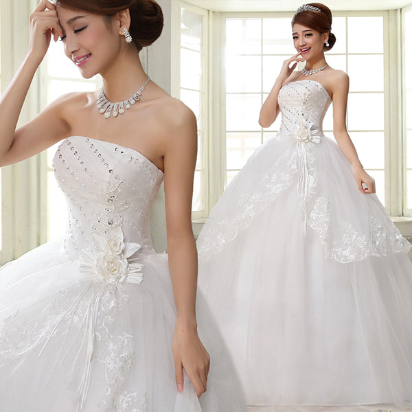 Cheap Floral Princess Strapless Wedding Dresses Bridal Ball Gowns ...
