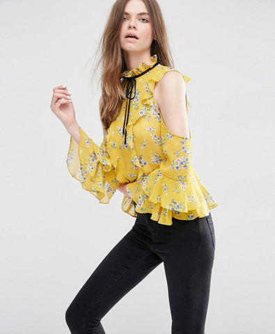 Cold Shoulder Ruffle Blouse in Floral Print Asos