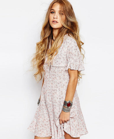 Vintage Button Front Mini Tea Dress With Ruffle Detail In Ditsy Print