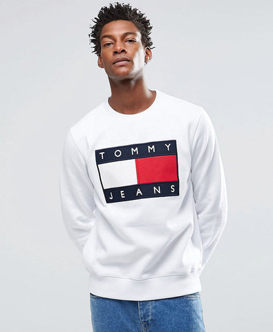 Denim Sweatshirt with Tommy Flag Logo In White