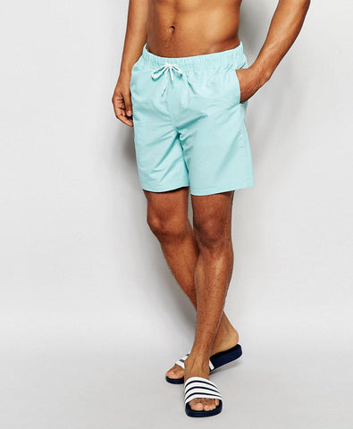 Mid Length Swim Shorts In Turquoise