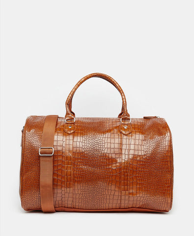 Smart Carryall In Tan Croc