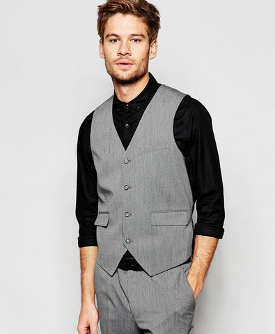 Slim Vest with Stretch in Mid Gray