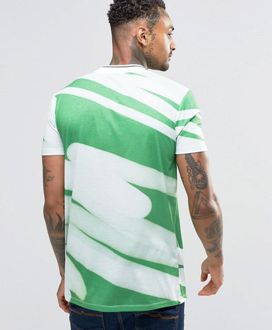 Longline Printed T-Shirt In Green Oversized T-Shirts