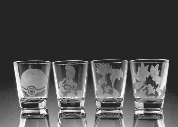 Johto Pokemon Starter 1.5oz Shot Glass Set of Four (4)