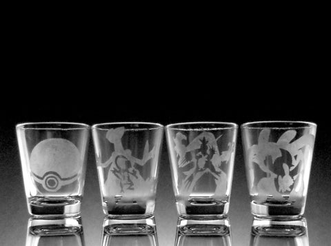 Hoenn Pokemon Starter 1.5oz Shot Glass Set of Four (4)