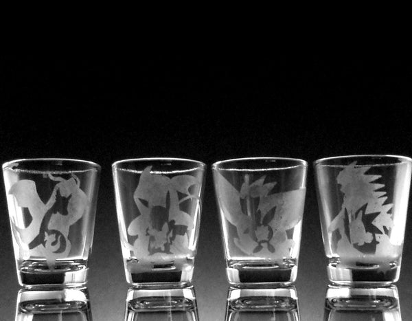 CHOOSE ANY FOUR (4) Pokemon Evolution Etch Shot Glasses