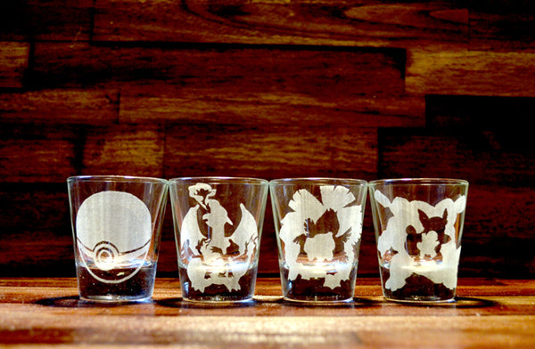Kanto Pokemon Starter Shot Glass Set of Four (4)