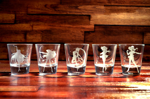 Sailor Moon Shot Glass Set of 5 (FIVE)