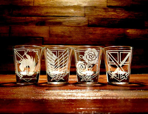 Shingeki no Kyojin (Attack on Titan) Etched Shot Glass Set of 4