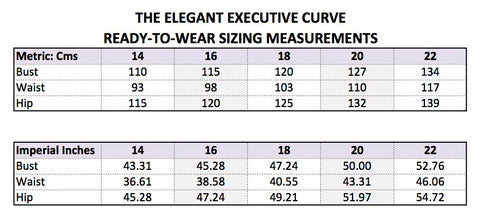 The Elegant Executive Curve Size Chart