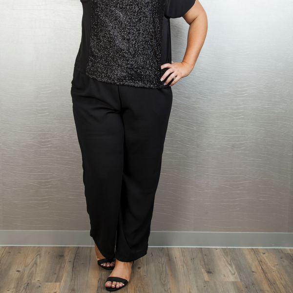 Pull-On Pants with Pockets - Black
