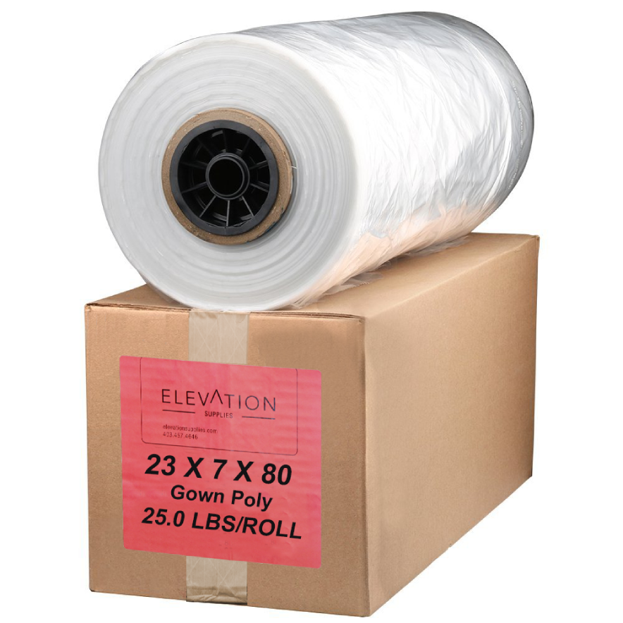 "Gown Poly 80"" 25 lbs NAT. .0015 - Elevation Supplies"
