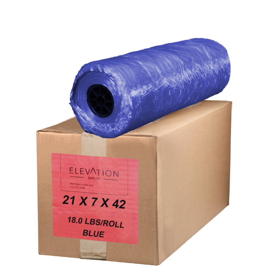 "Blue Tint Poly Garment Bags 42"" 18 lbs (353/Roll) - Elevation Supplies"