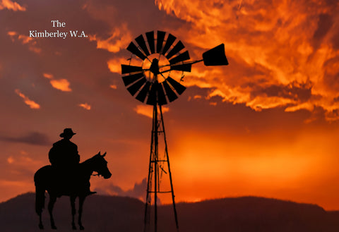 Free Standing large Photo Board. Kimberley Stockman and Windmill Sunset