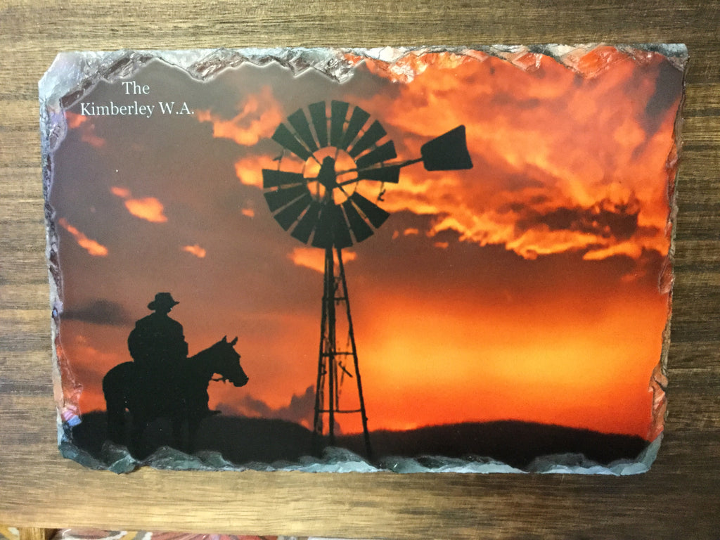 Slate on wood. Kimberley Boab & Windmill sunset scene